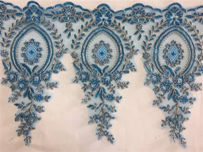 LNS-BBE-273-BLUEGOLD. Embroidered Bridal Lace - Blue with Gold Borders - 12 Inch Wide - Price per Yard:   $6.00
