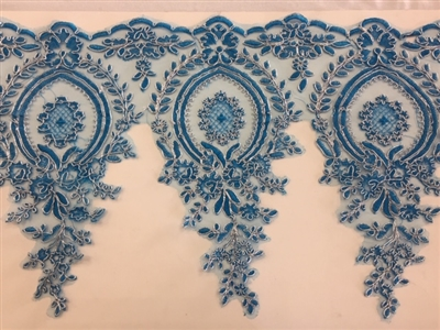 LNS-BBE-273-BLUESILVER. Embroidered Bridal Lace - Blue with Silver Borders - 12 Inch Wide - Price per Yard: $6.00