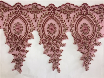 LNS-BBE-273-BURGUNDYGOLD. Embroidered Bridal Lace - Burgundy with Gold Borders - 12 Inch Wide - Price per Yard: $6.00