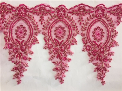 LNS-BBE-273-FUCHSIAGOLD. Embroidered Bridal Lace - Fuchsia with Gold Borders - 12 Inch Wide - Price per Yard: $6.00