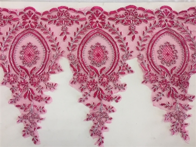 LNS-BBE-273-FUCHSIASILVER. Embroidered Bridal Lace - Fuchsia with Silver Borders - 12 Inch Wide - Price per Yard: $6.00
