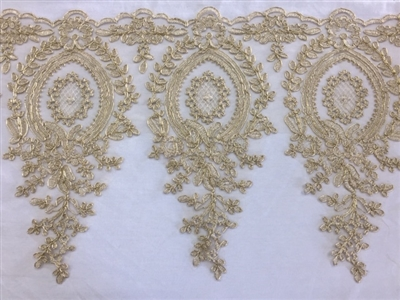 LNS-BBE-273-GOLD. Embroidered Bridal Lace - Gold - 12 Inch Wide - Price per Yard: $6.00