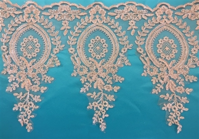 LNS-BBE-273-GOLDSILVER. Embroidered Bridal Lace - Gold with Silver Borders - 12 Inch Wide - Price per Yard: $6.00