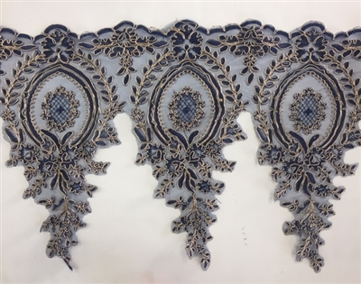LNS-BBE-273-NAVYGOLD. Embroidered Bridal Lace - Navy with Gold Borders - 12 Inch Wide - Price per Yard: $6.00