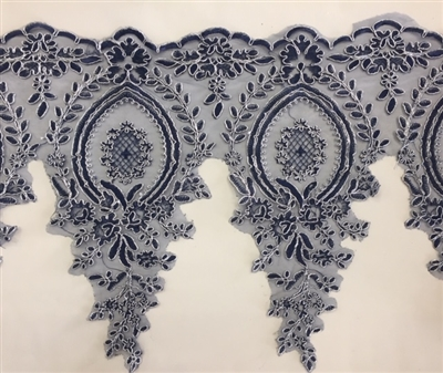 LNS-BBE-273-NAVYSILVER. Embroidered Bridal Lace - Navy with Silver Borders - 12 Inch Wide - Price per Yard: $6.00
