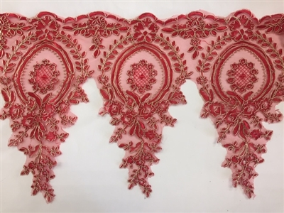 LNS-BBE-273-REDGOLD. Embroidered Bridal Lace - Red with Gold Borders - 12 Inch Wide - Price per Yard: $6.00