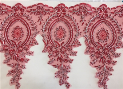 LNS-BBE-273-REDSILVER. Embroidered Bridal Lace - Red with Silver Borders - 12 Inch Wide - Price per Yard: $6.00