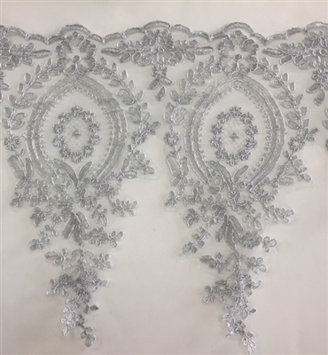 LNS-BBE-273-SILVER. Embroidered Bridal Lace - Silver - 12 Inch Wide - Price per Yard: $6.00
