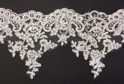 LNS-BBE-274-IVORY. Embroidered Bridal Lace with Beads and Sequins - 7 Inch Wide - IVORY - Price per yard: $7.00