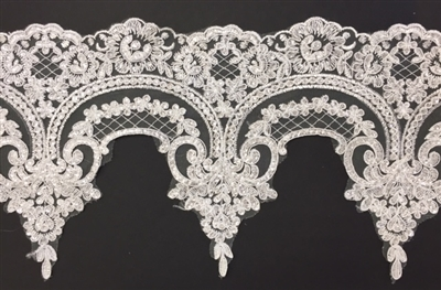 LNS-BBE-275-IVORY.  Embroidered Bridal Lace with Beads and Sequins - 9 Inch Wide - IVORY - Price per yard:  $8.00