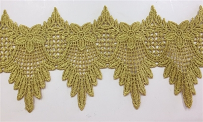 "LNS-BBE-277-GOLD.  BRIDAL LACE - 4"" WIDE"