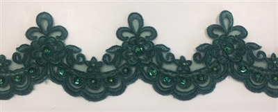 LNS-BBE-284-HUNTERGREEN. EMBROIDERED BRIDAL LACE - HUNTER GREEN  3 5/8 INCH WIDE - $5 PER YARD