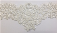 "LNS-BBE-304-OFFWHITE. EMBROIDERED BRIDAL BEADED LACE WITH SILVER METALLIC BORDER - 6"" - OFFWHITE"