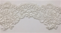 "LNS-BBE-304-WHITE. EMBROIDERED BRIDAL BEADED LACE - 5.5"" - WHITE"