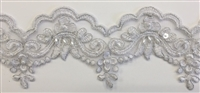 "LNS-BBE-305-SILVER. EMBROIDERED BRIDAL BEADED LACE WITH PEARLS - 3"" - SILVER"