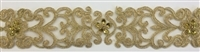 "LNS-BBE-306-DARKGOLD. EMBROIDERED BRIDAL BEADED LACE - 2"" - DARKGOLD"