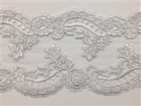 "LNS-BBE-308-OFFWHITE. EMBROIDERED BRIDAL BEADED LACE - 5"" - OFFWHITE"