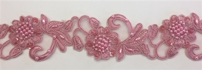 "LNS-BBE-310-DUSTYROSE. Embroidered Beaded Lace with Sequins For Bridal Dresses and Dance Costumes - 2"" - Dusty Rose"