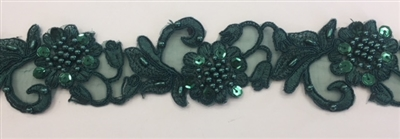 "LNS-BBE-310-HUNTERGREEN. Embroidered Beaded Lace with Sequins For Bridal Dresses and Dance Costumes - 2"" - Hunter Green"