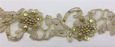 "LNS-BBE-310-METALLICGOLD. Embroidered Beaded Lace with Sequins For Bridal Dresses and Dance Costumes - 2"" - Metallic Gold"