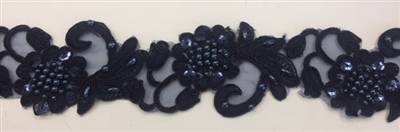 "LNS-BBE-310-NAVY. Embroidered Beaded Lace with Sequins For Bridal Dresses and Dance Costumes - 2"" - Navy"
