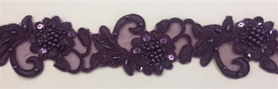 "LNS-BBE-310-PLUM. Embroidered Beaded Lace with Sequins For Bridal Dresses and Dance Costumes - 2"" - Plum"