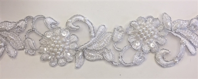 "LNS-BBE-310-SILVERWHITE. Embroidered Beaded Lace with Sequins For Bridal Dresses and Dance Costumes - 2"" - Silver White"
