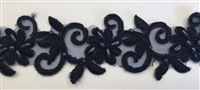 "LNS-BBE-311-BLACK. EMBROIDERED BRIDAL BEADED LACE WITH BEADS - 1.5"" - BLACK"