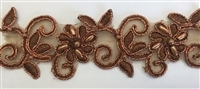 "LNS-BBE-311-BROWN. EMBROIDERED BRIDAL BEADED LACE WITH BEADS - 1.5"" - BROWN"