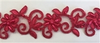 "LNS-BBE-311-RED. EMBROIDERED BRIDAL BEADED LACE WITH RED BEADS - 1.5"" - RED"