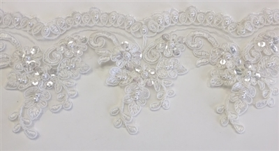 "LNS-BBE-312-OFFWHITE. EMBROIDERED BRIDAL BEADED LACE WITH SILVER BEADS - 4"" - OFFWHITE"