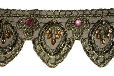"LNS-BED-115-OLIVE.  2.0""-wide Beaded Lace"