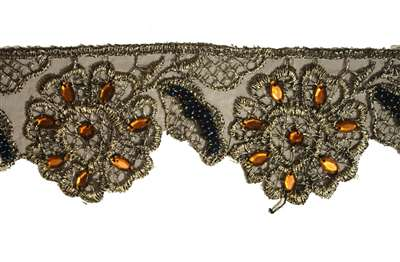 "LNS-BED-118-GOLD.  1.0""-wide Beaded Lace"