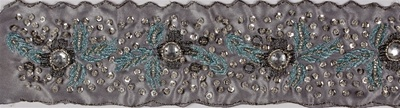 "LNS-BED-141.   2.5""-wide Handmade Indian Beaded Lace"