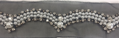 LNS-BED-144-SILVER.  Beaded Trim with Beautifully Arranged Silver Pearls, Bronze Pearls and Clear Crystal Stones On Black Mesh - Sold By the Yard - 1.25 Inches Wide
