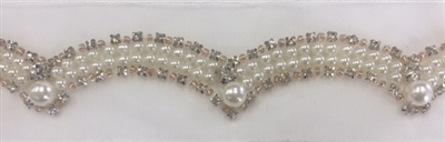 LNS-BED-144-WHITE.  Beaded Trim with Beautifully Arranged White Pearls, Gold Pearls and Clear Crystal Stones On White Mesh - Sold By the Yard - 1.25 Inches Wide