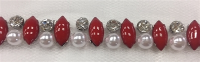 LNS-BED-146-RED.  Beaded Trim with Beautifully Arranged Red Acrylic Stones, White Pearls, and Clear Crystals On White Mesh - Sold By the Yard - 0.5 Inches Wide
