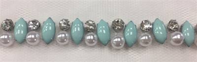LNS-BED-146-TURQUOISE.  Beaded Trim with Beautifully Arranged Turquoise Acrylic Stones, White Pearls, and Clear Crystals On White Mesh - Sold By the Yard - 0.5 Inches Wide