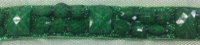 LNS-BED-149-GREEN.  Beaded Trim with Beautifully Arranged Green Acrylics on a Shiny Strip - Sold By the Yard - 1 Inch Wide