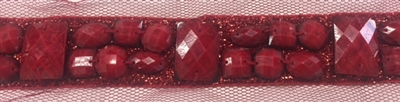 LNS-BED-149-RED.  Beaded Trim with Beautifully Arranged Red Acrylics on a Shiny Strip - Sold By the Yard - 1 Inch Wide