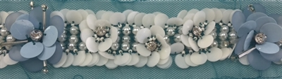 LNS-BED-155-BABYBLUE.  Beaded Trim with Beautifully Arranged Pearls, and Baby Blue Sequins on a Turquoise Mesh - Sold By the Yard - 1.5 Inch Wide