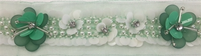 LNS-BED-155-GREEN.  Beaded Trim with Beautifully Arranged Pearls, and Sequins a Green Mesh - Sold By the Yard - 1.5 Inch Wide