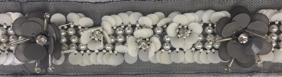 LNS-BED-155-GREY.  Beaded Trim with Beautifully Arranged Pearls, and Grey Sequins on a Black Mesh - Sold By the Yard - 1.5 Inch Wide