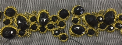 LNS-BED-156-BLACKGOLD.  Beaded Trim with Beautifully Arranged Black Beads on a Black Mesh - Sold By the Yard - 1.5 Inch Wide