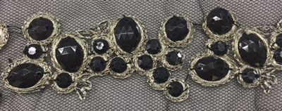LNS-BED-156-BLACKSILVER.  Beaded Trim with Beautifully Arranged Black Beads on a Black Mesh - Sold By the Yard - 1.5 Inch Wide