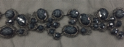 LNS-BED-156-GREY.  Beaded Trim with Beautifully Arranged Grey Beads on a Black Mesh - Sold By the Yard - 1.5 Inch Wide