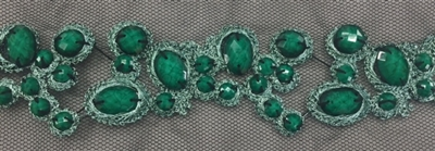 LNS-BED-156-JADE.  Beaded Trim with Beautifully Arranged Jade Beads on a Black Mesh - Sold By the Yard - 1.5 Inch Wide