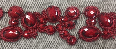 LNS-BED-156-RED.  Beaded Trim with Beautifully Arranged Red Beads on a Black Mesh - Sold By the Yard - 1.5 Inch Wide