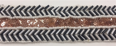 LNS-BED-165-WHITEBRONZE.  Beaded Trim with Beautifully Arranged Beads on a Strip - Sold By the Yard - 5/8 Inch Wide