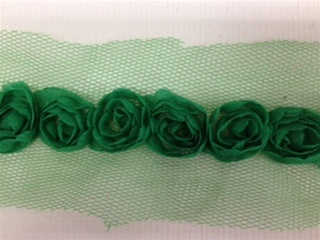 LNS-FLR-146-1LINE-GREEN. 1-LINE FLORAL LACE ON ORGANZA